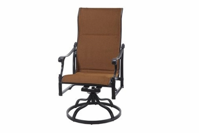 The Montego Collection Commercial Padded Sling High Back Swivel Dining Chair
