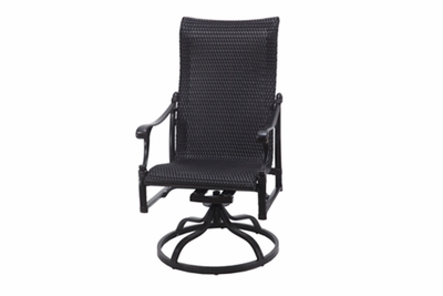 The Montego Collection Commercial Wicker High Back Swivel Dining Chair