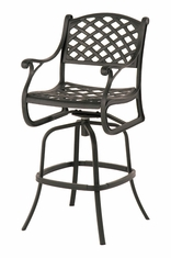 The Nassau Collection Commercial Cast Aluminum Swivel Bar Height Chair