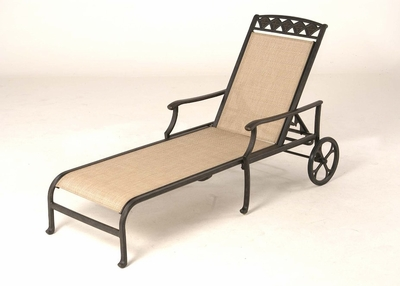 The Neiman Collection Commercial Cast Aluminum Sling Chaise Lounge