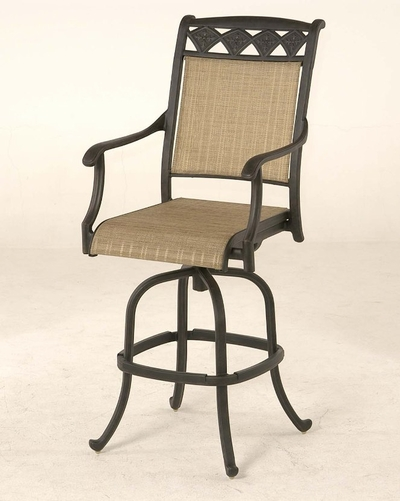 The Neiman Collection Commercial Cast Aluminum Sling Swivel Bar Height Chair