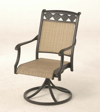 The Neiman Collection Commercial Cast Aluminum Sling Swivel Dining Chair