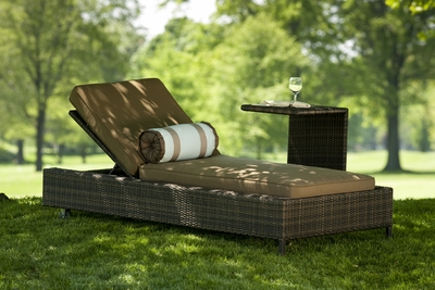 The Nevis Collection All Weather Wicker Patio Furniture Chaise Lounge
