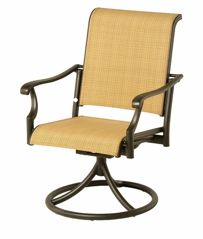 The Olivia Collection Commercial Cast Aluminum Sling Swivel Dining Chair