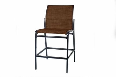 The Paradise Collection Commercial Cast Aluminum Padded Sling Stationary Bar Height Chair