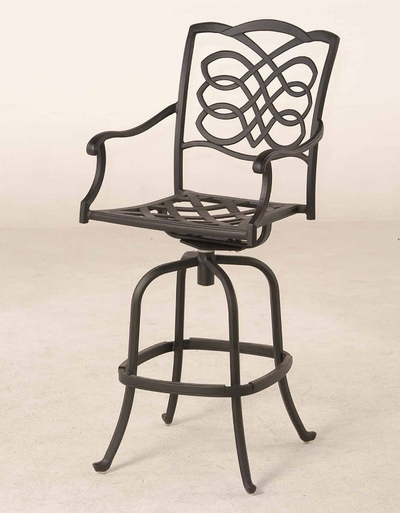 The Piza Collection Commercial Cast Aluminum Swivel Bar Height Chair