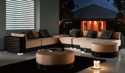 The Pomellato Collection All Weather Wicker Patio Furniture Sectional Set