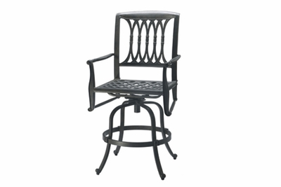 The Raven Collection Commercial Cast Aluminum Swivel Bar Height Chair