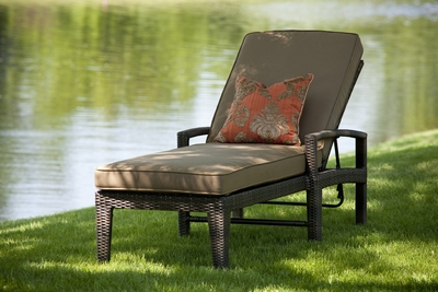 The Regis Collection All Weather Wicker Patio Furniture Chaise Lounge