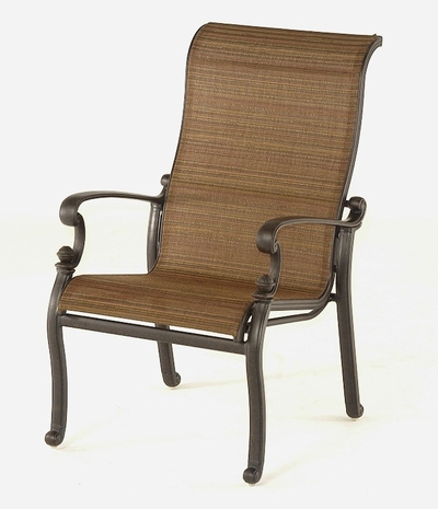 The Romana Collection Cast Aluminum Commercial Sling Stationary Dining Chair
