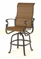 The Romana Collection Commercial Cast Aluminum Sling Swivel Bar Height Chair