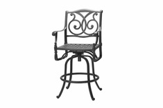 The Roza Collection Commercial Cast Aluminum Swivel Bar Height Chair