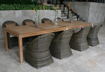 The Sempione Collection All Weather Wicker/Teak Patio Furniture Dining Set
