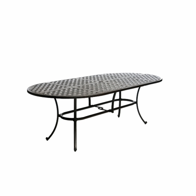 "The Tahoe Collection Commercial Cast Aluminum 42"" x 84"" Oval Dining Table"