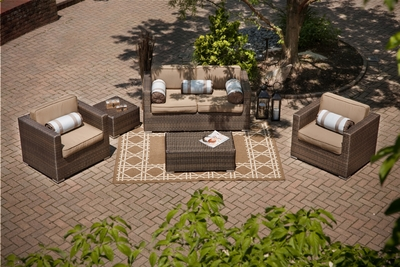 The Taryn Collection 5-Piece All Weather Wicker Patio Furniture Deep Seating Set