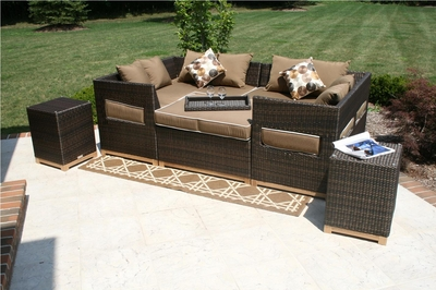The Tellulah Collection All Weather Wicker/Teak Patio Furniture Daybed