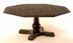 The Tribeca Collection Commercial Cast Aluminum Hexagonal Dining Table With Inlaid Lazy Susan