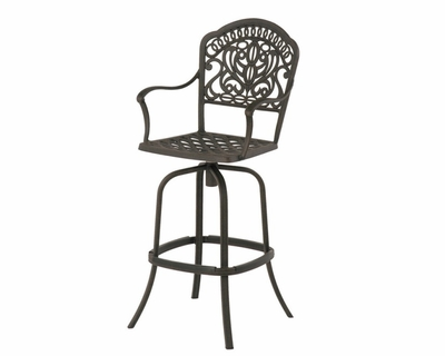 The Tribeca Collection Commercial Cast Aluminum Swivel Bar Height Chair