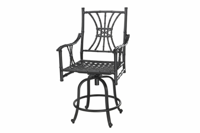 The Tropica Collection Commercial Cast Aluminum Swivel Bar Height Chair