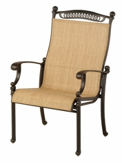 The Tybe Collection Commercial Cast Aluminum Sling Stationary Dining Chair
