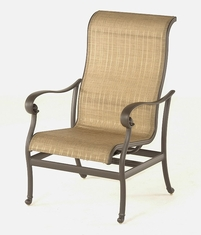 The Valencia Collection Commercial Cast Aluminum Sling Stationary Spring Chair