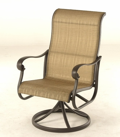 The Valencia Collection Commercial Cast Aluminum Sling Swivel Dining Chair