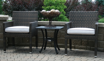 The Via Collection 2-Person All Weather Wicker/Cast Aluminum Patio Furniture Chat Set