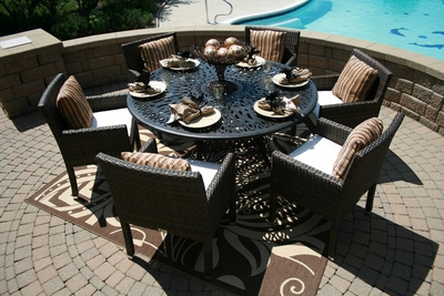 The Via Collection 6-Person All Weather Wicker/Cast Aluminum Patio Furniture Dining Set