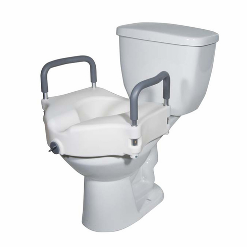 2 in 1 Locking Elevated Toilet Seat Tool-Free Removable Arms