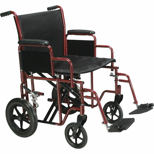 """20"""" Bariatric Steel Transport Chair (Red)"""