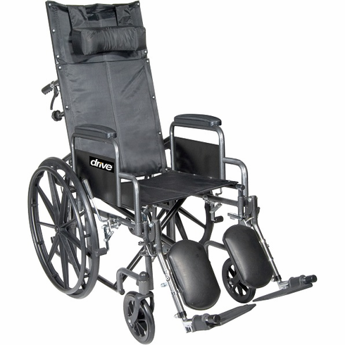 "20"" Silver Sport Full-Reclining Wheelchair w/ Detachable Desk Arm"