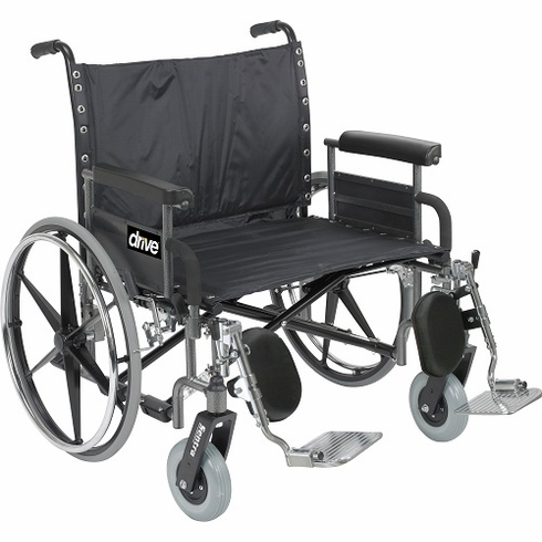 "26"" Bariatric Dlx Sentra HD, ext-ext Wide Wheelchair w/detachable full arm"