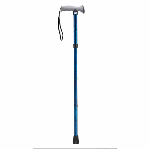 Adjustable Lightweight Blue Crackle Folding Cane with Gel Hand Grip