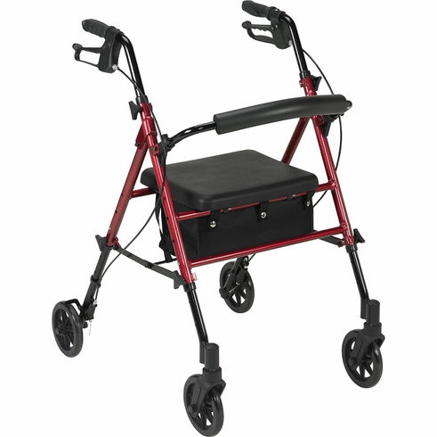 """Aluminum Rollator, 6"""" Casters (Red) r726rd"""