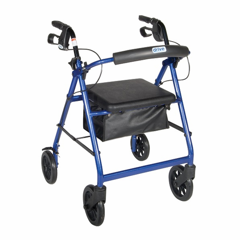 "Aluminum Rollator 7.5"" Casters Padded Seat r728bl Blue"