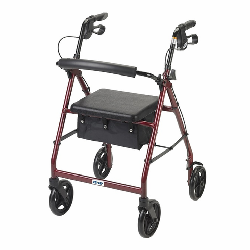 """Aluminum Rollator, 7.5"""" Casters (Red) r728rd"""