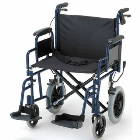Bariatric Transport Chair Swing Away Footrest 22 Seat Blue