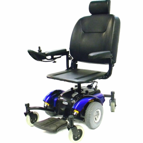 "Blue Intrepid Mid-Wheel Power Wheelchair with Pan Seat 20"" Wide"