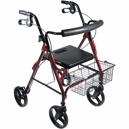 "D-Lite, Aluminum Rollator with Removable 8"" Casters (Red)"