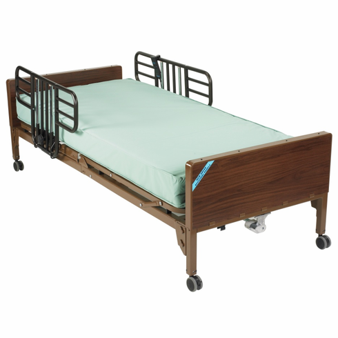Delta Ultra Light Semi Electric Bed with Half Rails and Therapeutic Support Mattress