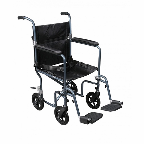Deluxe Fly-Weight Aluminum Transport Chair (Blue)