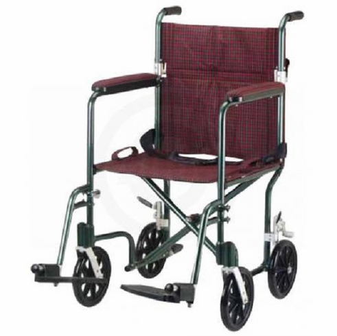 Deluxe Fly-Weight Aluminum Transport Chair (Burgundy)