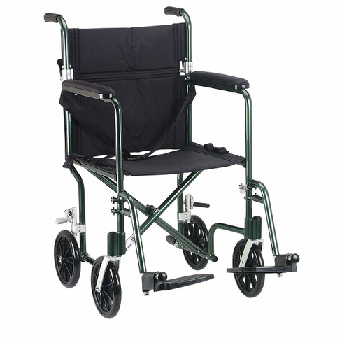 Deluxe Fly-Weight Aluminum Transport Chair (Green)