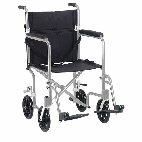 Deluxe Fly-Weight Aluminum Transport Chair (Silver)