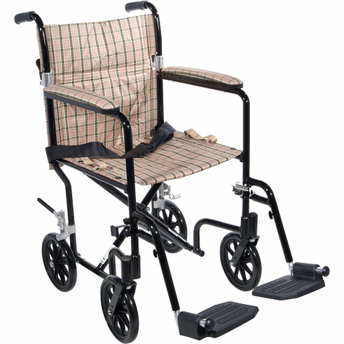 Deluxe Fly-Weight Aluminum Transport Chair (Tan)