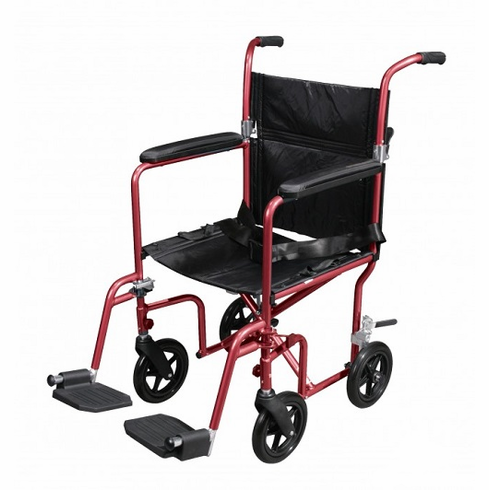 Deluxe Fly-Weight Aluminum Transport Chair with Removable Casters (Red)