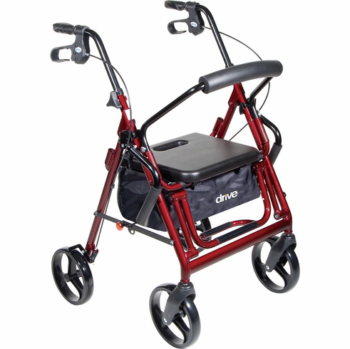 """Duet Rollator/Transport Chair, 8"""" Casters (Red)"""