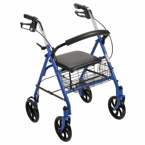 """Durable 4 Wheel Rollator with 7.5"""" Casters (Blue)"""