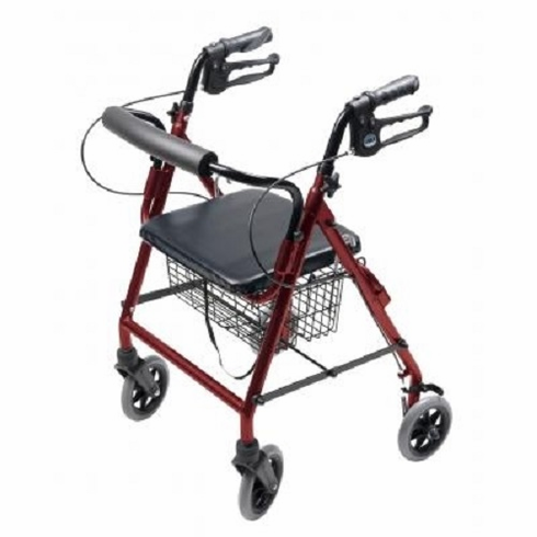 """Durable 4 Wheel Rollator with 7.5"""" Casters (Red)"""
