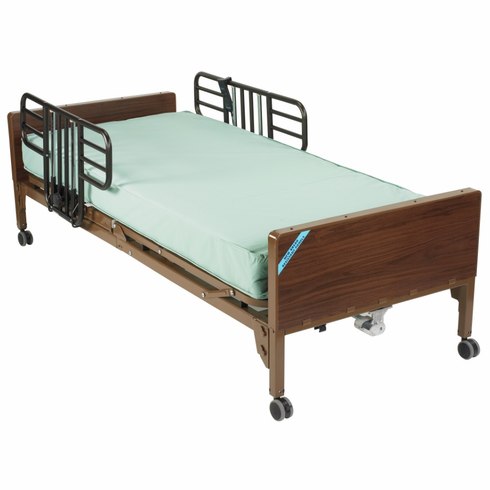 Full Electric Bed Half Rails and Mattress 15005bv-pkg-1